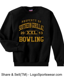 Property of Southern Gorillaz Sweat Shirt (Black and Gold) Design Zoom